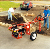 Two man gasoline powered post hole diggers